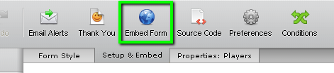 Embed Form button