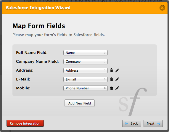 salesforce fields mapping with jotform