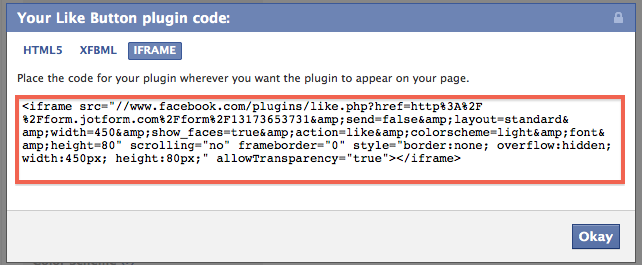 copy the facebook like button code